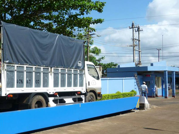 Truck at a weighing station